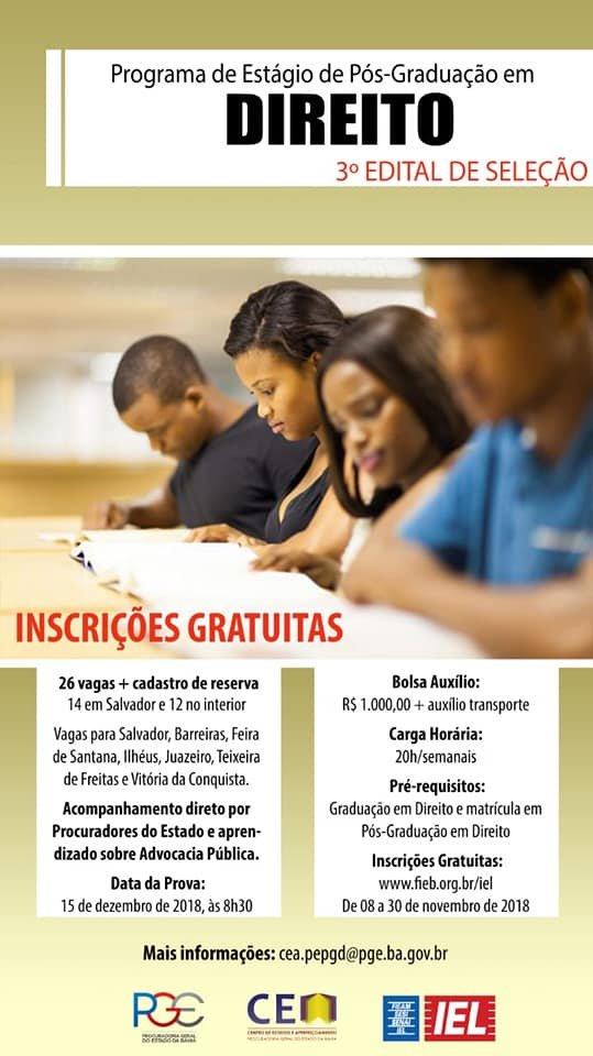 Estágios de pós-graduação da PGE/BA Seleção: 15/12