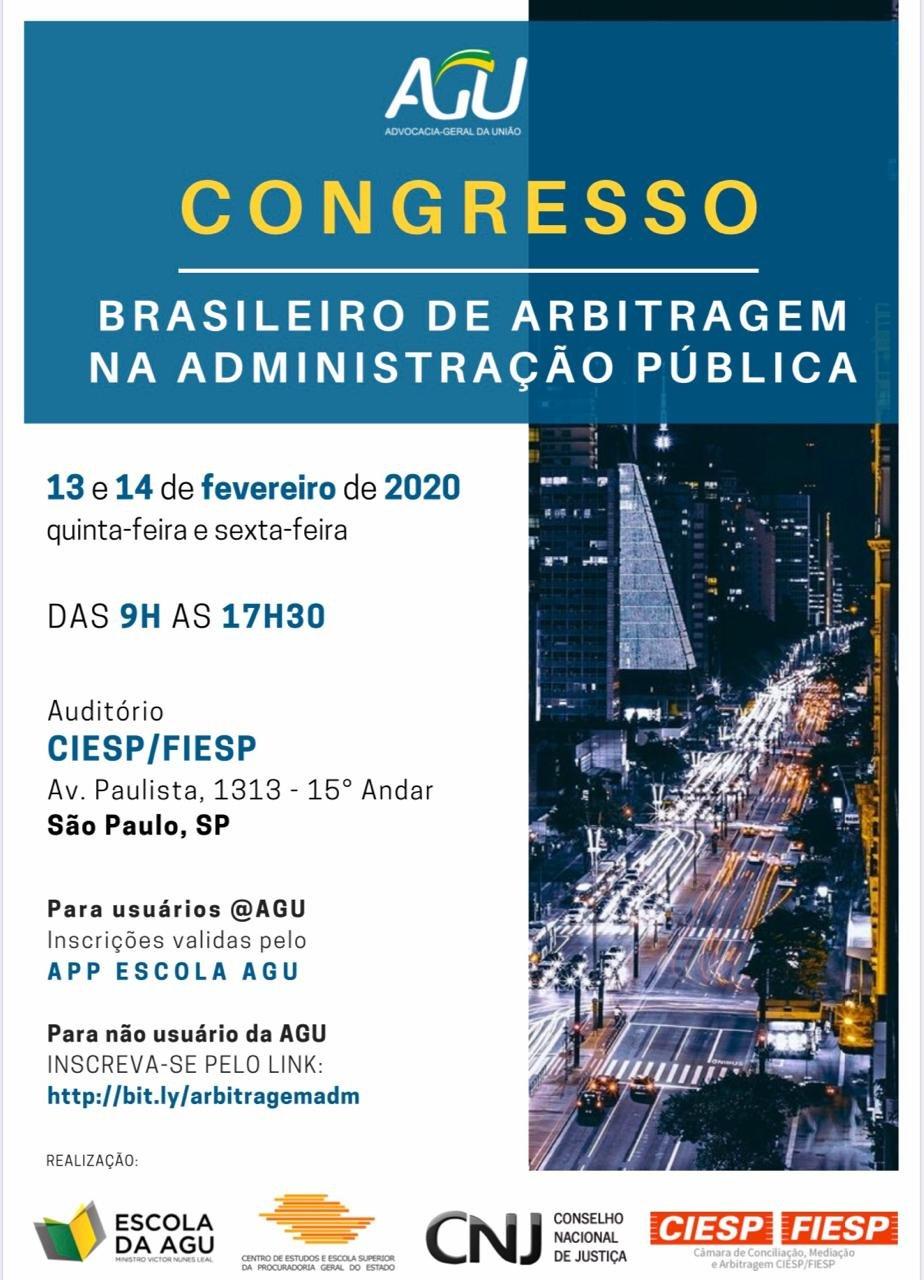 AGU CONGRESSO BRASILEIRO DE ARBITRAGEM NA ADMINISTRAÇÃO PÚBLICA