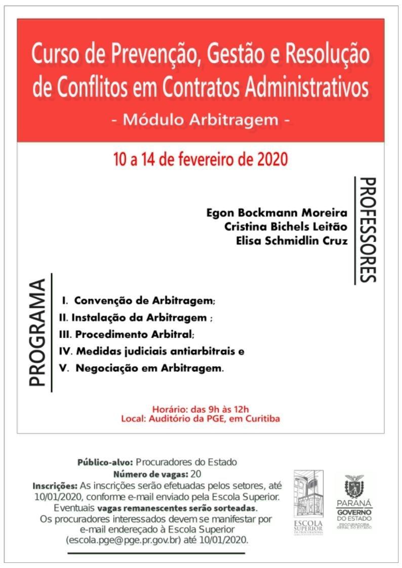 Curso de Prevenção Gestão e Resolução de Conflitos em Contratos Administrativos